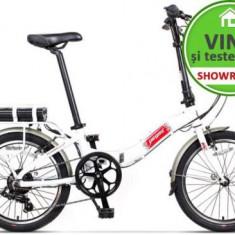 Bicicleta Electrica Pegas Camping Dinamic 7S, Pliabila, Roti 20inch, 7 Viteze, Autonomie 40 Km, Motor 220 W (Alb)