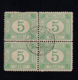 ROMANIA 1887 - TAXA DE PLATA FARA FILIGRAM 5 BANI BL 4 CIRCULAT, Stampilat