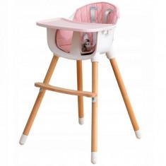 Scaun de masa Bebe 2 in 1, lemn de fag, Roz foto