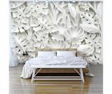 Tapet Alabaster Garden 280x400 cm - Artgeist, Alb
