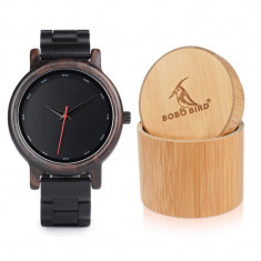 Ceas din lemn Bobo Bird cu curea din lemn, P10 Cutie din lemn Wooden Lux