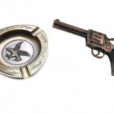 Set cadou scrumiera si bricheta in forma de Pistol Autentic HomeTV
