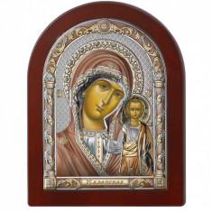 Icoana Argint Maica Domnului Kazan cu Auriu si Color 15*20cm Cod Produs 2603
