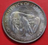 Jersey 2 1/2 Pounds 1972 UNC argint 27.1g Patinat Design Unic KM# 38, Europa