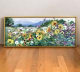 Tablou floral Pictura cu flori Tablou cu flori de camp, peisaj pictat cu flori