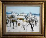 Nicolae Blei - Iarna la tara , ulei pe pinza , 40 x 50 cm, Peisaje, Altul