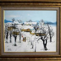Nicolae Blei - Iarna la tara , ulei pe pinza , 40 x 50 cm