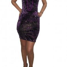 Rochie de club, shic, cu imprimeu animal-print, de culoare mov