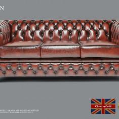 Canapea din piele naturală-3 locuri-Maro antique-Autentic Chesterfield Brand