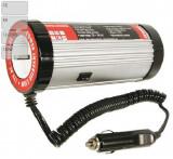 Invertor de tensiune auto Carpoint 12V-230V 150W 50-60Hz model rotund cu protectie supra-sarcina baterie descarcata supravoltaj scurt-circuit tempera