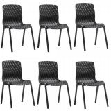 Set 6 scaune gradina,terasa ROYAL culoare neagra 52x50xh83cm polipropilen/fibra sticla B004214-42341 Raki