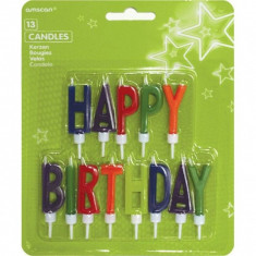Lumanari Jumbo Litere Colorate Happy Birthday set 13 buc