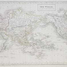 THE WORLD ON MERCATOR 'S PROJECTION , PLANIGLOB , GRAVURA , AUTOR G. AIKMAN , MIJLOCUL SECOLUUI XIX