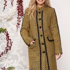Palton LaDonna mustariu casual cu un croi drept din material gros cu aplicatii cusute manual