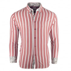 Camasa pentru barbati, roz, super slim fit, casual, cu guler floral - JEEL