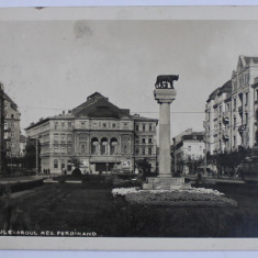TIMISOARA , BULEVARDUL REGELE FERDINAND , CARTE POSTALA ILUSTRATA , MONOCROMA, CIRCULATA , DATATA 1934