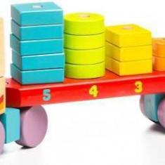 Jucarie din lemn Cubika Camion cu forme geometrice