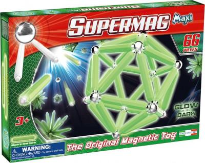 Supermag Maxi Glow - Set Constructie Luminos 66 Piese foto
