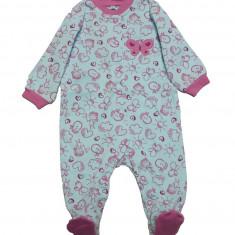Salopeta / Pijama bebe cu desene Z34, 1-2 ani, 1-3 luni, 12-18 luni, 3-6 luni, 6-9 luni, 9-12 luni, Bleu