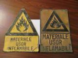 "Cumpara ieftin GE - Lot 2 table vechi vopsite ambutisate ""Materiale Usor Inflamabile"", Ornamentale"