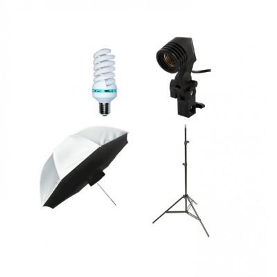 Kit lumina continua cu bec si umbrela tip softbox difuzie fata 92cm foto