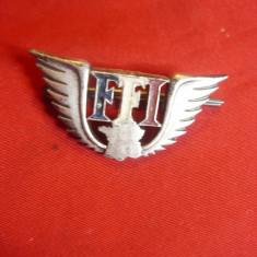 Insigna FFI -Fortele Franceze interioare -metal argintat -ww2 ,L= 4cm A.Bertrand
