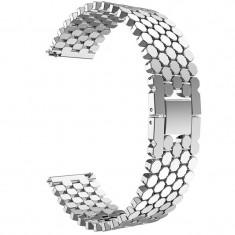 Curea metalica compatibila Samsung Galaxy Watch 46mm, telescoape Quick Release, Bright-Silver