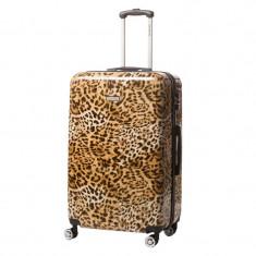 Troler Lamonza Leopard, 68 cm, 4 roti duble silentioase, policarbonat