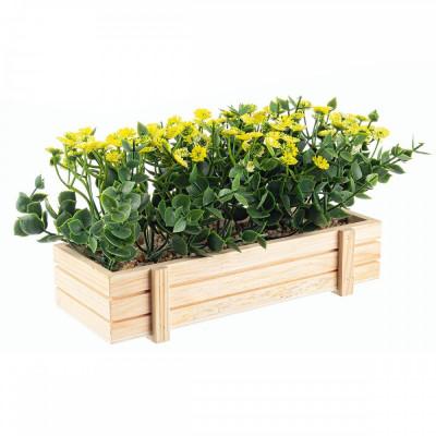 Flori artificiale galbene in jardiniera 23x9x14h foto