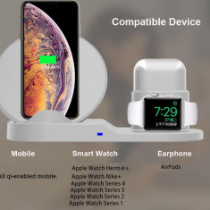 White 3 in 1 Fast Wireless Charger for iPhone