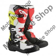 MBS Cizme motocross Alpinestars Tech3, negru/alb/rosu/galben fosforescent , marimea 11=45.5, Cod Produs: 2013018105311AU