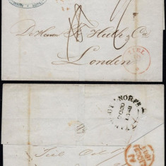 Belgium 1848 Postal History Rare Stampless Cover Tiel to London DB.203