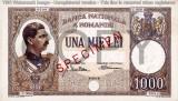 REPRODUCERE  bancnota specimen 1000 lei 1934