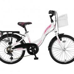 "Bicicleta city Umit Alanya culoare alb/roz roata 20"" cadru otelPB Cod:2027300000"