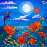 """Pictura pe panza 40x40 cm """"Zana Macilor"""", Flori, Acrilic, Suprarealism"""