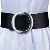 Curea lata neagra de 7.5 cm, din material elastic cu catarama metalica argintie rotunda, M, S, Negru