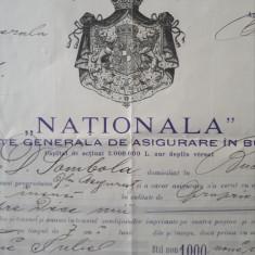 "Polita de asigurare "" Nationala "" 1902 - Raritate - superba"