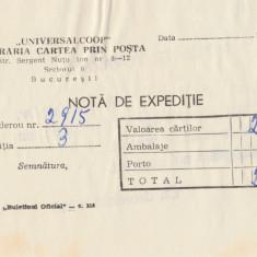 1970 Libraria Cartea prin posta - nota de expeditie, UNIVERSALCOOP, stampila