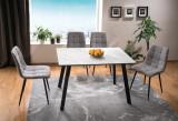 Cumpara ieftin Set masa din MDF, sticla si metal Samuel Alb / Negru + 4 scaune tapitate cu stofa Mila Gri / Negru, L120xl80xH75 cm