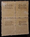Lp 70ll - Carol Tipografiate bloc de 4 - Supratipar 1918 / Abklatsch, Nestampilat