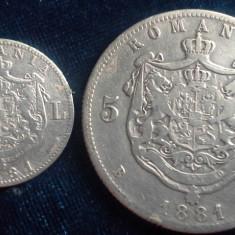 1 LEU  si 5 LEI 1881  DOMN  CAROL+CADOU 8 MONEDE REGE MIHAI