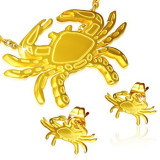 Set auriu din oțel - cercei cu șurub și pandantiv, rac
