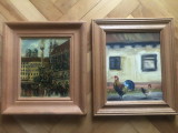 Tablou,pictura germana in ulei pe lemn,peisaj citadin si rural,semnate