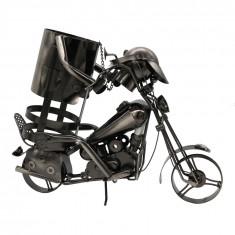 Suport metalic pentru sticla de vin, forma motocicleta