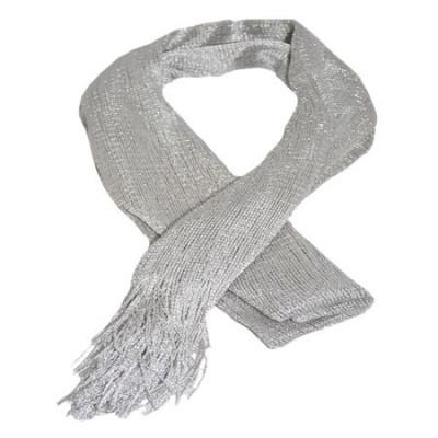 Esarfa casual de culoare negru-argintiu foto