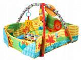 Patut portabil tip cosulet pentru bebelusi, cu jucarii, saltea inclusa, multicolor