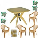Set balcon FEIJO masa cu 4 scaune Carnaval culoare bej,4 perne scaun,Fata de masa 150x150cm B001079 Raki