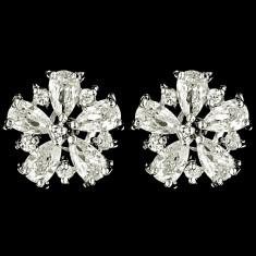 Cercei placati cu Aur 18K si Diamante, Lotus