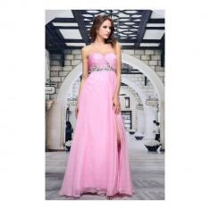 Rochie lunga rafinata, de culoare roz, decorata cu cristale, 2XL, L, XL