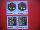 HOPCT TIMBRE MNH 64 BIS CRACIUN VITRALII  2  X 2 VAL LEGATE 1986  -NORVEGIA